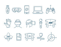 Set of linear icons virtual reality accessories. 360 degree view. Rotation arrows. Gloves and helmet Stock Photo
