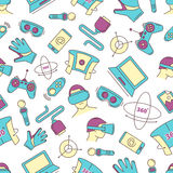 Set of linear icons virtual reality accessories. seamless pattern Stock Image