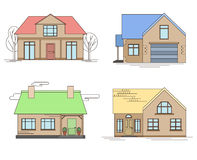 Set of linear illustration of country houses Stock Photography