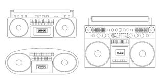 Set of linear illustrations of audio tape recorders and boom box. Vector black and white element for your creativity Stock Image