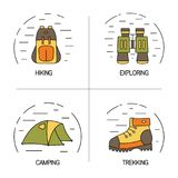 Set of linear logo design for hiking, trekking, tourism and travels concept. Outdoor line icons with open paths Royalty Free Stock Images