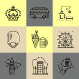 Set of linear London icons. Main London landmarks. Fish and chips, london bus, tea and others. Poster design or postcard illustration Royalty Free Stock Photo