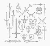 Set of linear medieval weapon and shields Royalty Free Stock Photography