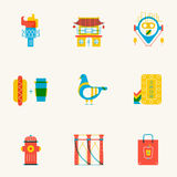 Set of linear New York icons. Royalty Free Stock Image