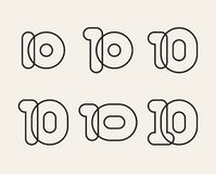 Set of linear numbers 10, vector rounded figures. Set of linear numbers 10, black overlapping thin lines isolated on white background. Vector rounded figures stock illustration