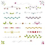 Set of  linear ornamental borders dividers. Set of  linear borders dividers. Ornamental caligraphic elements. For design templates, invitations, menus, weddings Stock Photo
