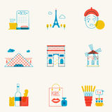Set of linear Paris icons. Royalty Free Stock Images