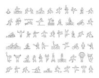 Set of linear shapes popular sports athletes. Vector icons. Stock Photography