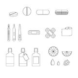 Set of linear style medicine icons. Linear style set of medicine icons Royalty Free Stock Photography