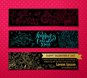 Set of linear Valentine's banners. Stock Image
