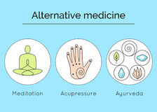 Set of linear vector icons with types of alternative medicine. Royalty Free Stock Image