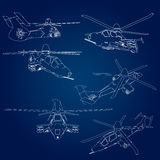 Set linear Vector illustration of a military helicopter on a blue background. Stock Photo