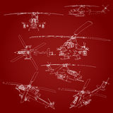 Set linear Vector illustration of a military helicopter on a red background. Stock Photos
