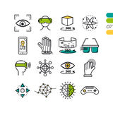 Set linear virtual reality colored icons. Vector set of linear virtual reality modern computer entertainment icons. The seventh series of symbols Royalty Free Stock Photography