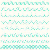 Set linear waves blue wave line pattern vector Royalty Free Stock Image