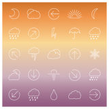 Set of linear weather icons, vector illustration Royalty Free Stock Photo