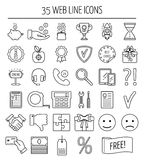 Set of linear web icons. Line icons for business, web development and landing page. Flat design. Vector Stock Images