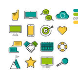 Set linear work process colored icons Royalty Free Stock Image