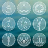Set of linear yoga icons, yoga logos in outline style. Stock Image