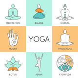 Set of linear yoga icons, yoga logos in outline style. Royalty Free Stock Image