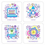 Set of lineart concepts. Set of lineart business illustration. Banking, light bulb with gears, Startup, online payments, timemanagement. Flat design, lineart Royalty Free Stock Images