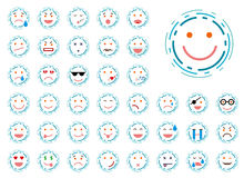 Set of lined smiley Stock Photos