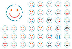 Set of lined smiley Stock Images