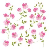 Set of Linen flowers elements. Stock Photography