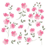 Set of Linen flowers elements. Royalty Free Stock Photo