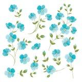 Set of Linen flowers elements. Stock Photos