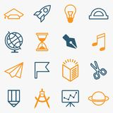 Set_lines_education_icons 库存照片
