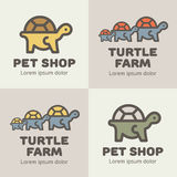 Set of lines icons turtless in diffrerent colors Stock Image