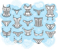 Set of lingerie illustrations Royalty Free Stock Photography