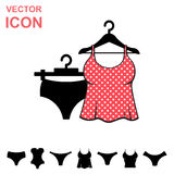 Set of Lingerie Vector Icon on White Background Stock Photos