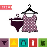 Set of Lingerie Vector Icon on White Background Stock Photography