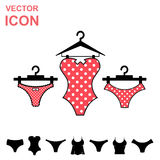 Set of Lingerie Vector Icon on White Background. Modern Youth Underwear Clothes Royalty Free Stock Photos