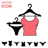 Set of Lingerie Vector Icon on White Background. Modern Youth Underwear Clothes Royalty Free Stock Photography