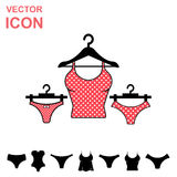 Set of Lingerie Vector Icon on White Background. Modern Youth Underwear Clothes Stock Photography