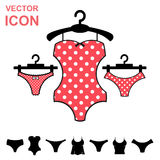 Set of Lingerie Vector Icon on White Background. Modern Youth Underwear Clothes Stock Photos