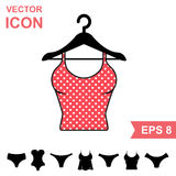 Set of Lingerie Vector Icon on White Background. Modern Youth Underwear Clothes Stock Images