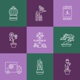 Set liniowe ikony dla kwiatu lub kwiaciarni sklepu Zdjęcia Stock