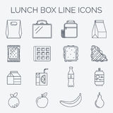 Set liniowe lunch ikony Fotografia Royalty Free