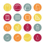Set liniowe lunch ikony Fotografia Stock