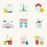 Set liniowe Paryskie ikony Obrazy Royalty Free