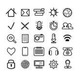 Set 25 liniowego czerni gładkich ikon royalty ilustracja