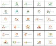 Set liniowi abstrakcjonistyczni logowie Wiruje, okrąża, nieskończoności pętla i inni pojęcia Logotypu gatunku szablony Zdjęcie Royalty Free
