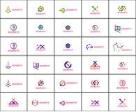 Set liniowi abstrakcjonistyczni logowie Zawijas, okrąg Fotografia Royalty Free