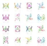 Set liniowi abstrakcjonistyczni logowie Zawijas, okrąg Fotografia Stock