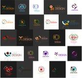 Set liniowi abstrakcjonistyczni logowie Zawijas, okrąg Obrazy Stock
