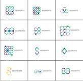 Set liniowi abstrakcjonistyczni logowie Zawijas, okrąg Zdjęcia Royalty Free
